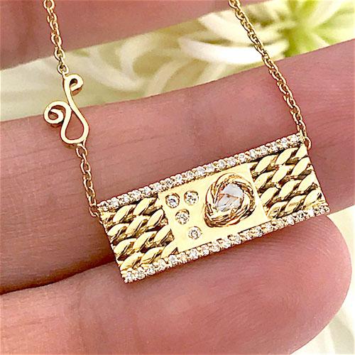 rose-cut-diamond-18k-gold-twist-textured-slider-tab-pendant-EFCP-04-A-1