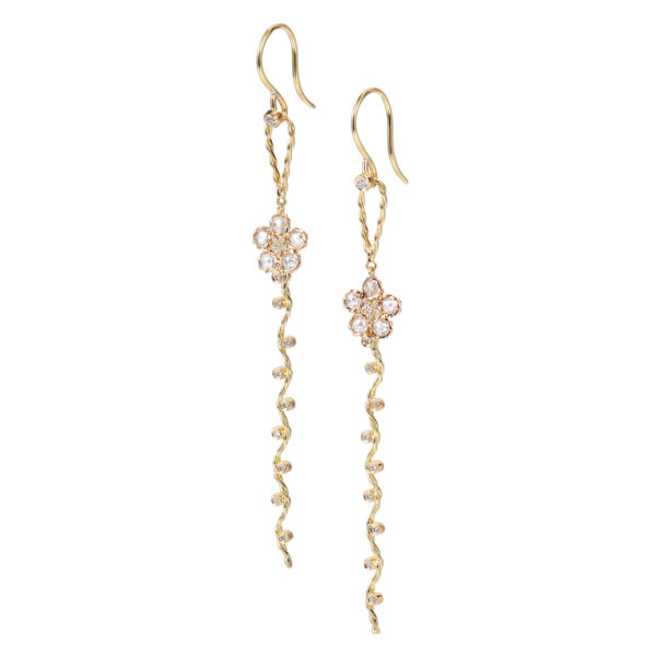 Rose Cut Diamond Floral Wavy Dangle Detachable Convertible Earrings in 18k Yellow Gold by JeweLyrie