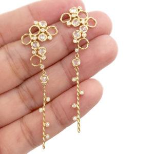 93-HERA Scattered rose cut diamond twist dangle earrings_3777
