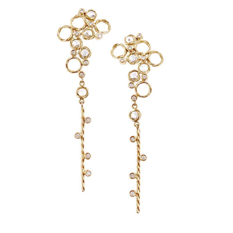 93-HERA Scattered rose cut diamond twist dangle earrings_6530