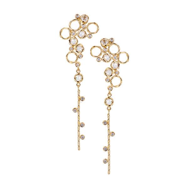 Scattered rose cut diamond twist dangle gold earrings