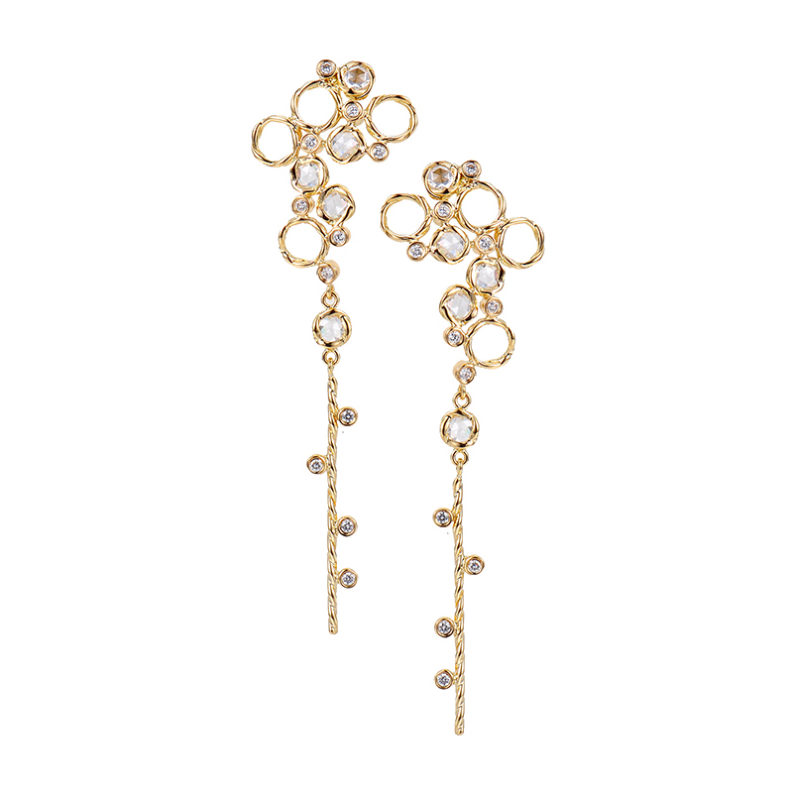 Scattered rose cut diamond twist dangle gold earrings