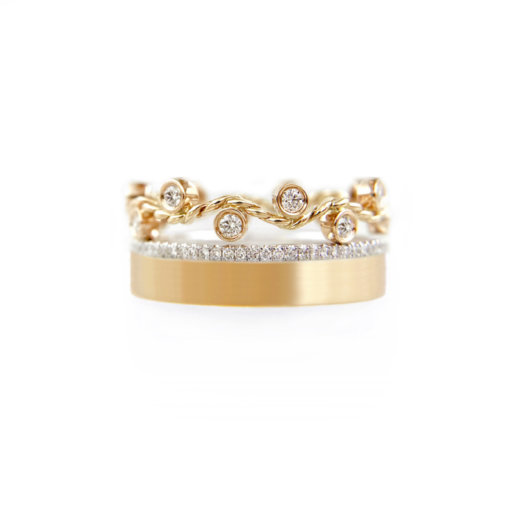 JeweLyrie Signature 8mm Wavy Twist Pave Diamond Satin Square band Gold Ring Stacking ring set in 14k and 18k by JeweLyrie