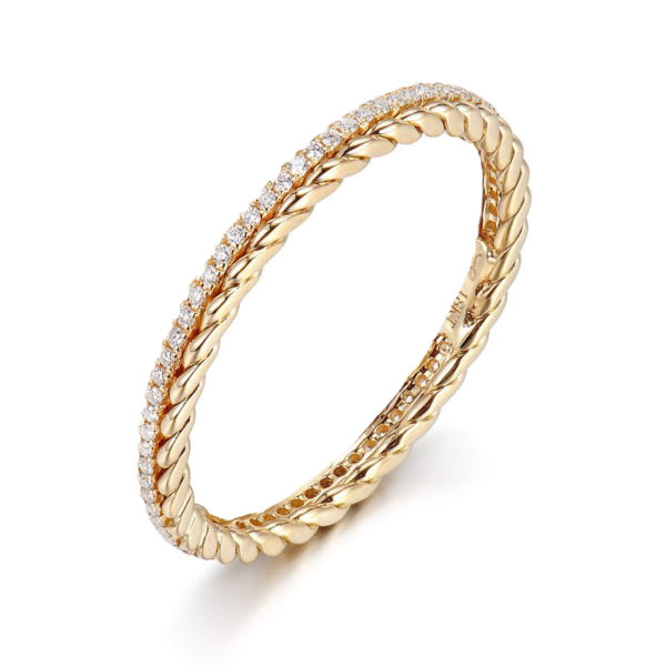 Twist Trimmed Micro Pavé Diamond Eternity Band Ring Guard Spacer available in 14k and 18k, yellow, white and rose gold by JeweLyrie.