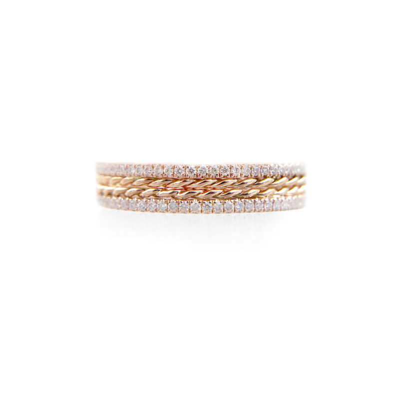JeweLyrie Signature Slim twist trimmed pave diamond stripe band ring stacking in 14k or 18k with total 0.38 carat of white diamonds