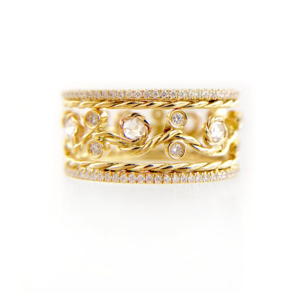 Twist Petal Open Lace pave diamond Satin Band Ring Stacking Set with total 0.786 carat white diamonds in 14k and 18k by JeweLyrie.