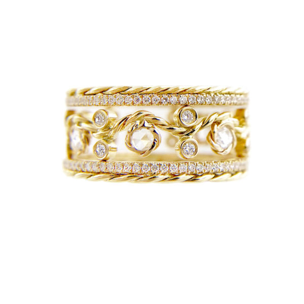 Twist Open Lacey Rose Cut Pave diamond Eternity Ring Stacking Set with total 0.786 carat white diamonds in 14k and 18k by JeweLyrie.