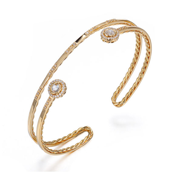 Double Halo Rose Cut Diamond Twist Lined Turn Back Cuff in 14k and 18k with total 0.343ct white diamonds from Allongé collection by JeweLyrie