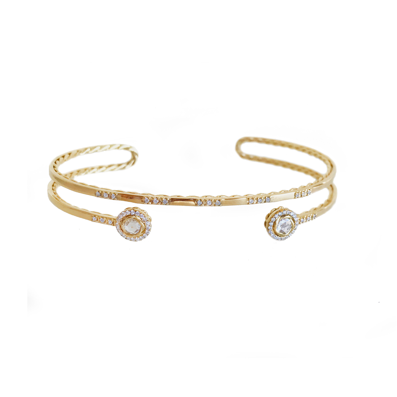 100-Double-Halo-Rose-Cut-Diamond-Twist-Lined-Turn-Back-Cuff-14k-18k-JeweLyrie_4548