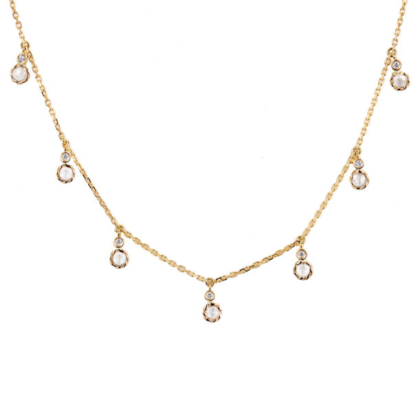 Twist-Bezeled-Rose-Cut-Diamond-Seven-Station-18k-Gold-Necklace