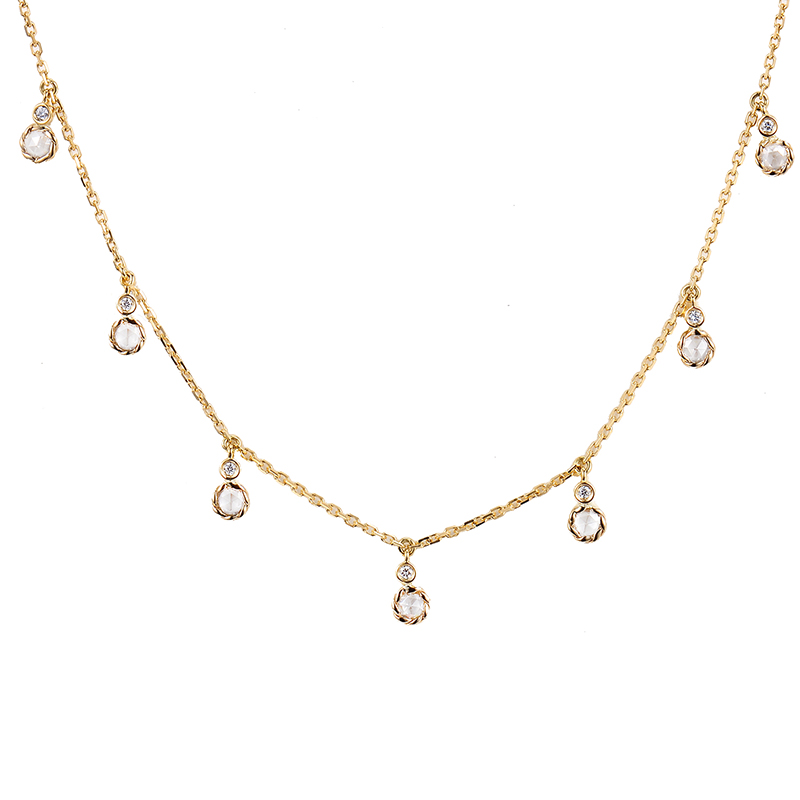 101-Twist-Bezeled-Rose-Cut-Diamond-Seven-Station-18k-Gold-Necklace-14k-adjustable-P