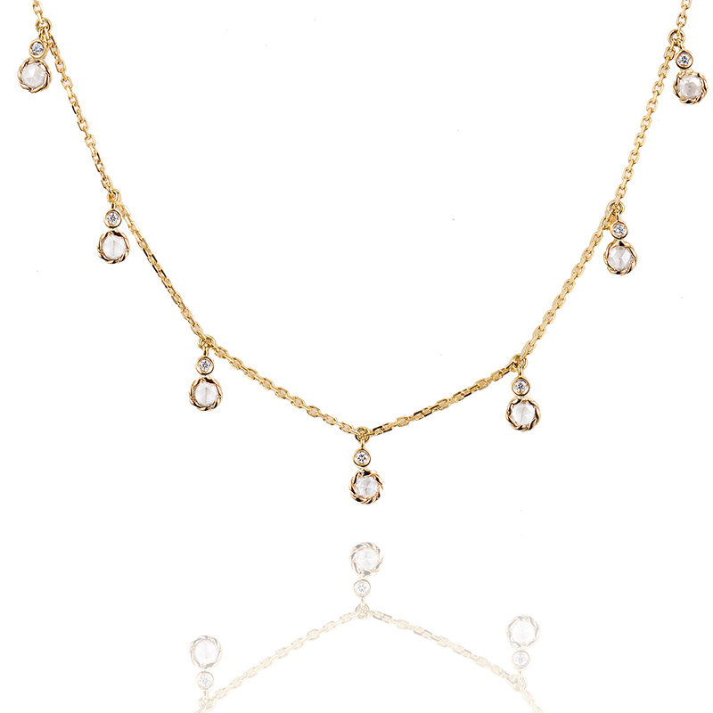 Twist Bezeled Rose Cut Diamond Seven Station 18k Gold Necklace with total 0.465ct white diamonds from Allongé collection by JeweLyrie
