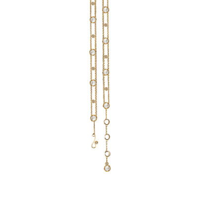 Adjustable Signature Twist Bezeled Rose Cut Diamond Gold Station Bracelet with end dangle in 14k and 18k with total 0.625ct white diamonds by JeweLyrie