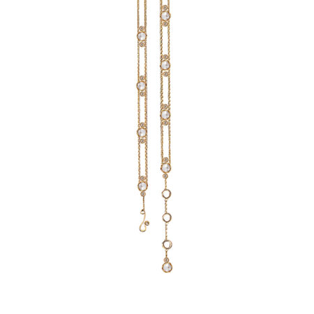 Adjustable Flanked Twist Bezel Rose Cut Diamond Gold Station Bracelet with end dangle in 14k and 18k with total 1.095ct white diamonds by JeweLyrie