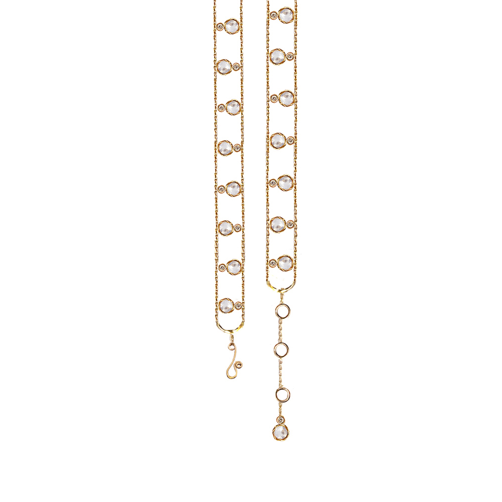 Alternate Twist Bezel Rose Cut Diamond Gold Station Chain Bracelet with matching end dangle in 14k and 18k with total 1.064ct white diamonds by JeweLyrie