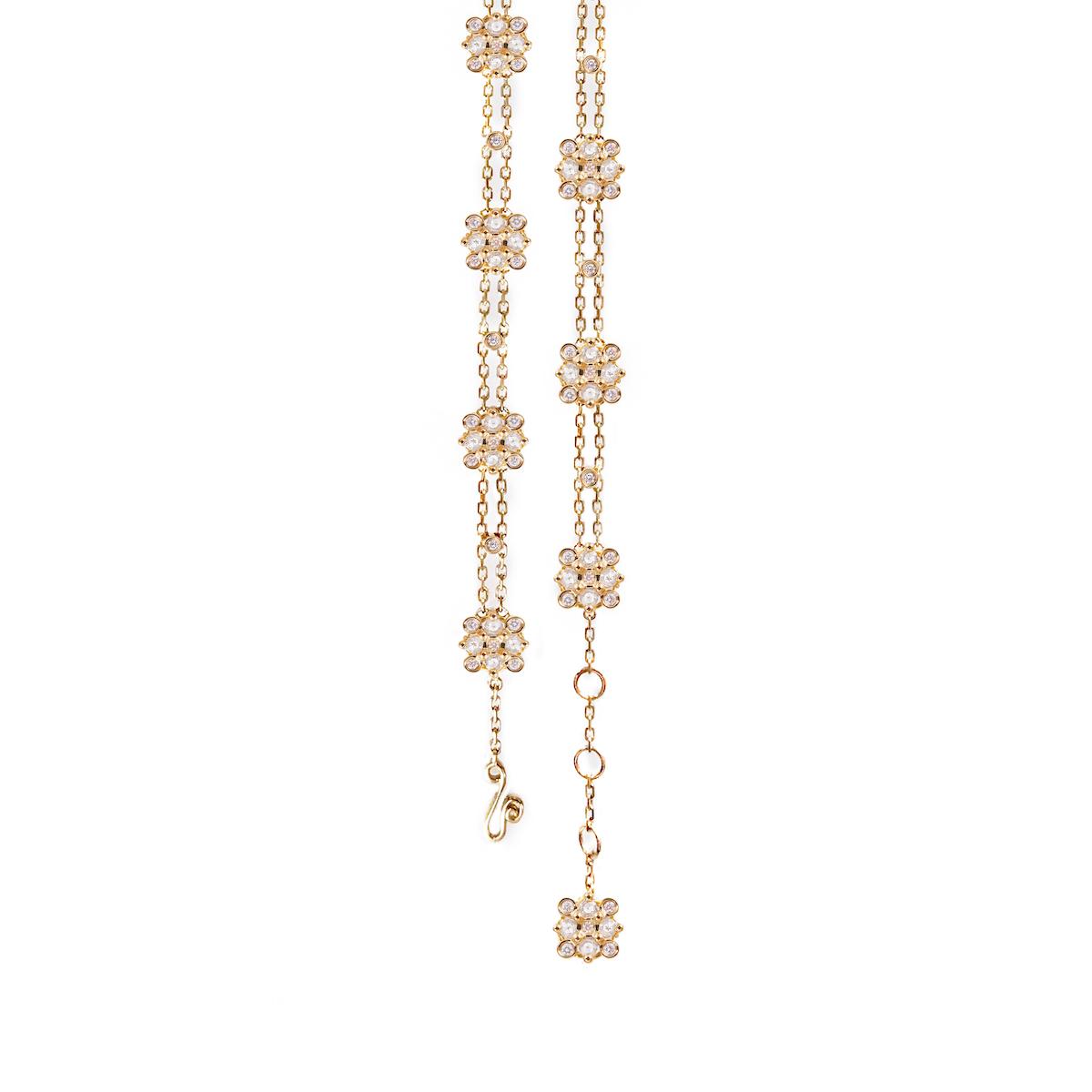 106 Rose-Cut-Diamond-Square-Checker-Cluster-Gold-Station-Chain-Bracelet-14k-18k-JeweLyrieV copy