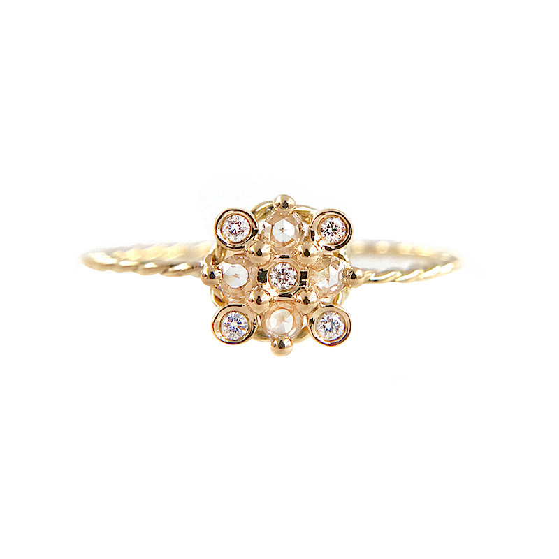 Slim Twist Rose Cut Diamond Square Checker Cluster Gold Ring in 14k and 18k with total 0.175ct white diamonds from Allongé collection by JeweLyrie