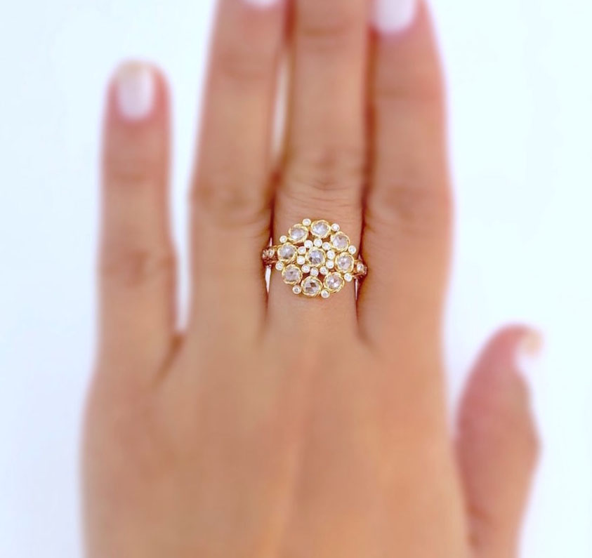 18k-gold-handmade-petal-cup-rose-cut-diamond-cluster-ring-in-Jewelyrie-signature-pirouette-twist-scaled