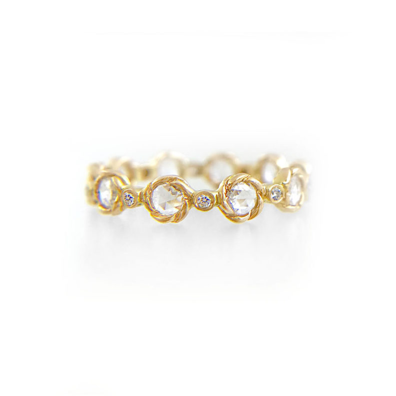 Signature Twist Bezel 4mm Rose Cut Diamond Eternity Gold Ring in 14k and 18k with total 0.85ct white diamonds from Allongé collection by JeweLyrie