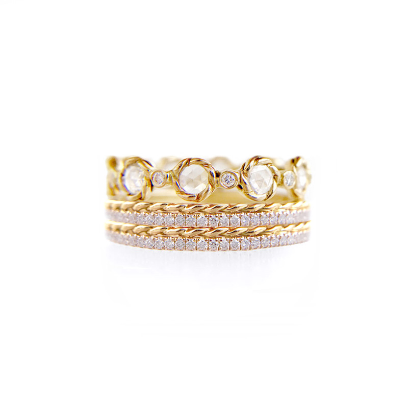 Rose Cut Diamond Twist Setting Stripe Gold Crown Ring Stacking Set with twist trimmed Pavé Diamond Eternity Ring Guards in 14k and 18k