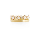 6mm Rose Cut Diamond Satin Square Eternity Stacking Ring set with 0.85 carat white diamonds in 14k or 18k white diamond by JeweLyrie