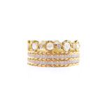 Rose Cut Diamond Eternity Double Pave Stripe Gold Crown Ring Stacking Set with twist trimmed Pavé Diamond Eternity Ring Guards in 14k and 18k