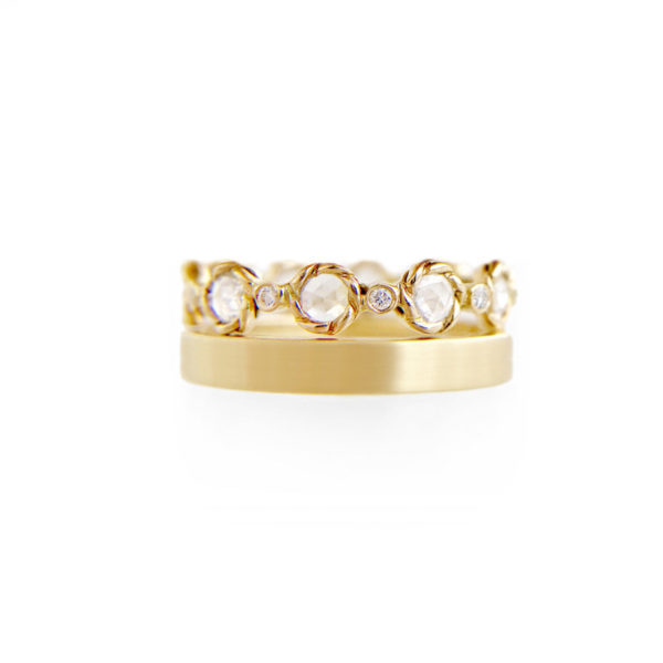 7mm Rose Cut Diamond Satin Square Eternity Stacking Ring set with 0.85 carat white diamonds in 14k or 18k white diamond by JeweLyrie