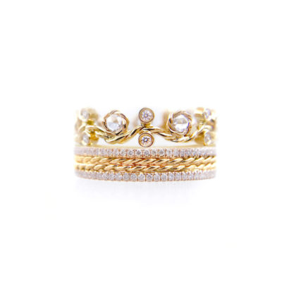 Rose Cut Diamond Twist Vine Pave Stripe Gold Crown Ring Stacking Set with twist trimmed Pavé Diamond Eternity Ring Guards in 14k and 18k
