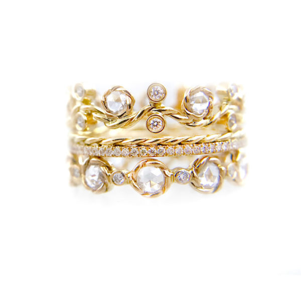 Chic Rose Cut Diamond Wavy Twist Vine Eternity Gold Crown Ring Stacking Set of three with total 1.446 carat white diamonds in 14k and 18k by JeweLyrie