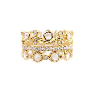 Spark Rose Cut Diamond Wavy Twist Vine Eternity Gold Crown Ring Stacking Set of three with total 1.446 carat white diamonds in 14k and 18k by JeweLyrie