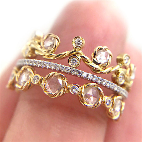 Rose Cut Diamond Wavy Twist Vine Eternity Gold Crown Ring Stacking Set of three with total 1.446 carat white diamonds in 14k and 18k by JeweLyrie