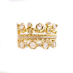 Classy Rose Cut Diamond Wavy Twist Vine Eternity Gold Crown Ring Stacking Set of three with total 1.446 carat white diamonds in 14k and 18k by JeweLyrie