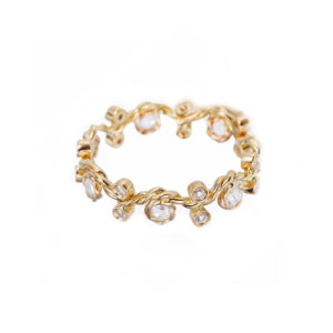 5mm Twist Vine Rose Cut Diamond Stacking Eternity Gold Crown Ring in 14k and 18k from Glissade stacking band by JeweLyrie.
