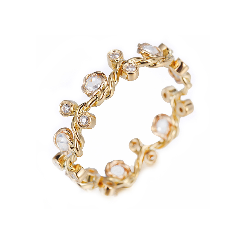 27V-Twist-Vine-Rose-Cut-Diamond-Stacking-Eternity-Gold-Crown-Ring-5mm-14k-18k-JeweLyrie