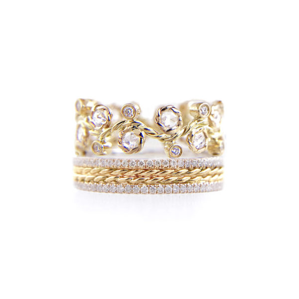 Alternate Rose Cut Diamond Twist Pave Stripe Gold Crown Ring Stacking Set with twist trimmed Pavé Diamond Eternity Ring Guards in 14k and 18k