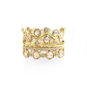 Wavy Twist Alternate Rose Cut Diamond Eternity Three Ring Stacking set total 1.132 carat white diamonds in 14k or 18k by JeweLyrie