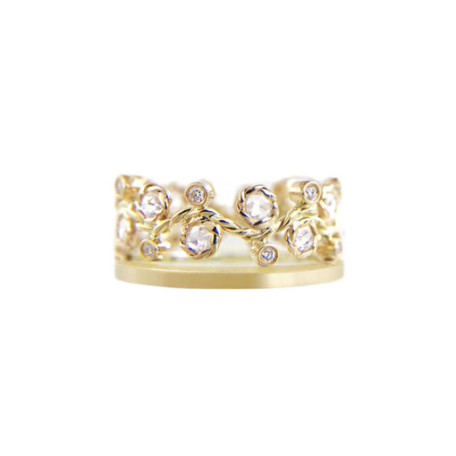 8mm alternate rose cut diamond satin square band crown ring Stacking set with 0.632 carat white diamonds in 14k or 18k white diamond by JeweLyrie