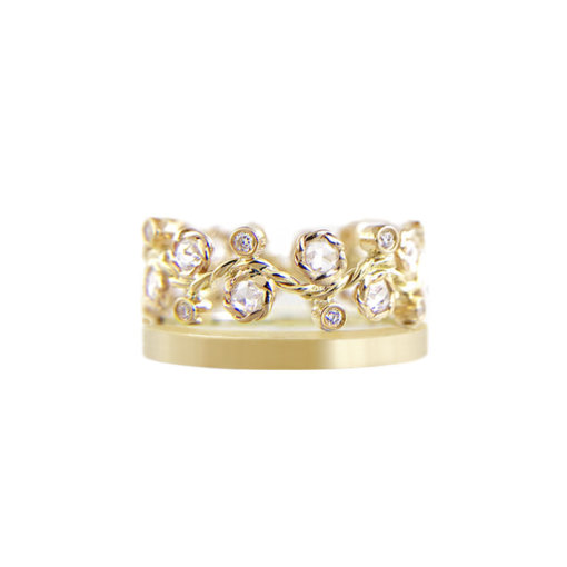 9mm alternate rose cut diamond satin square band crown ring Stacking set with 0.632 carat white diamonds in 14k or 18k white diamond by JeweLyrie