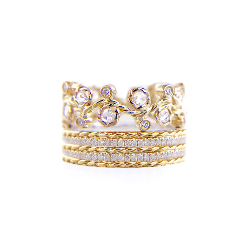 Alternate Rose Cut Diamond Double Pave Stripe Gold Crown Ring Stacking Set with twist trimmed Pavé Diamond Eternity Ring Guards in 14k and 18k