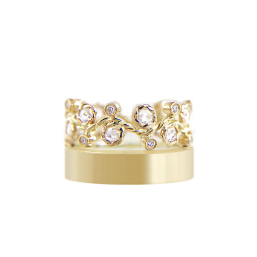 11mm alternate rose cut diamond satin square band crown ring Stacking set with 0.632 carat white diamonds in 14k or 18k white diamond by JeweLyrie