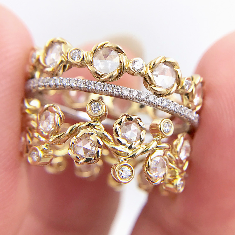 Alternate Rose Cut Diamond Wavy Twist Eternity Gold Crown Ring Stacking Set of three with total 1.672 carat white diamonds in 14k and 18k by JeweLyrie