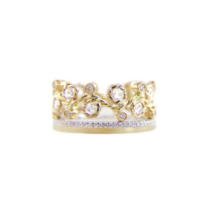 9mm rose cut diamond Alternate Pave satin square band Ring Stacking ring set with total 0.596 carat white diamonds in 14k and 18k by JeweLyrie