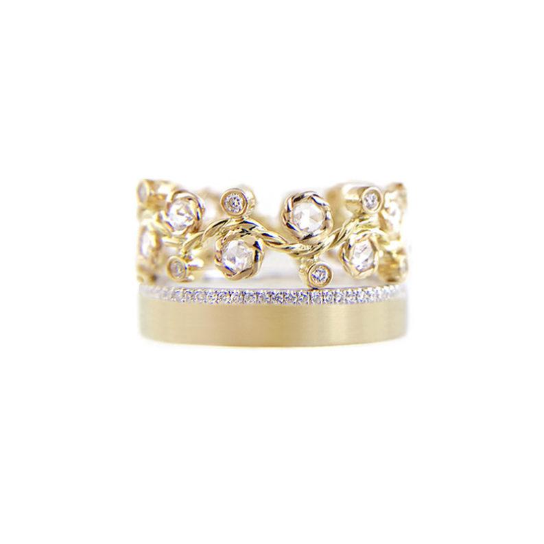 Orchard rose cut diamond twist vine wave crown ring stacking set