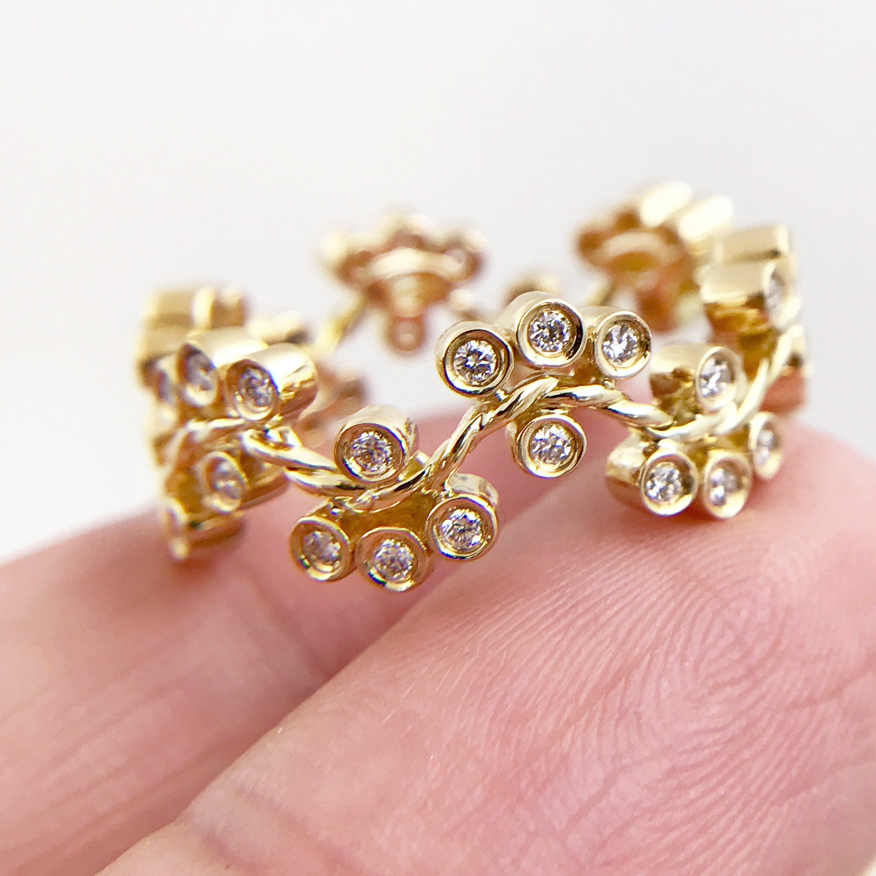 31-7mm JeweLyrie Signature Wavy Twist Alternate Diamond Cluster Gold Ring Stackable in 14k and 18k from Glissade stacking band by JeweLyrie._3289