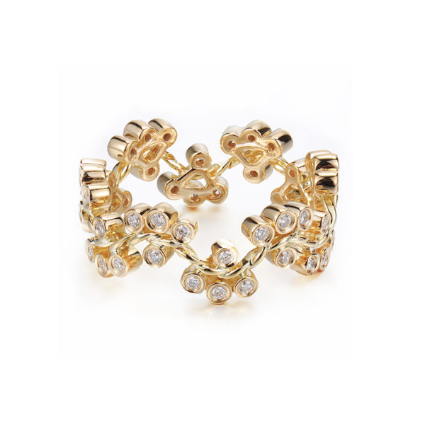 7mm JeweLyrie Signature Wavy Twist Alternate Diamond Cluster Gold Ring Stackable in 14k and 18k from Glissade stacking band by JeweLyrie.