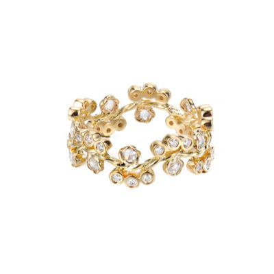 7mm Wavy Twist Alternate Rose Cut Diamond Cluster Bloom Gold Ring Stackable in 14k and 18k from Glissade stacking band by JeweLyrie.