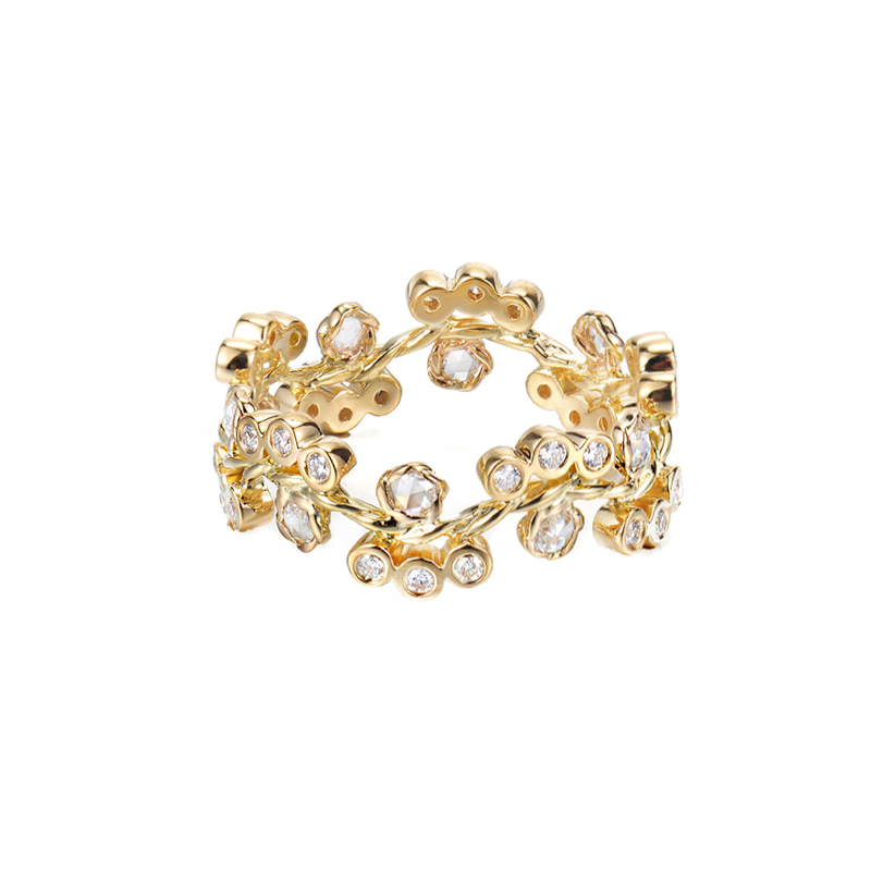 33-Wavy-twist-Alternate-Rose-Cut-Diamond-Cluster-Bloom-Gold-Ring-14k-18k-Stackable-JeweLyrie
