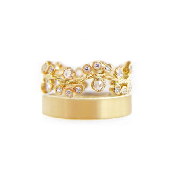 Rose cut diamond cluster floral wavy twist vine stacking ring set