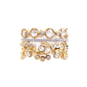 Wavy twist rose cut diamond Cluster Eternity Three Ring Stacking set total 1.474 carat white diamonds in 14k or 18k by JeweLyrie