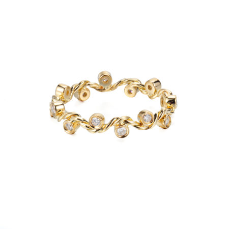 Signature Wavy Twist Diamond Stacking Eternity Gold Ring in 14k and 18k with total 0.12ct white diamonds from Glissade collection by JeweLyrie